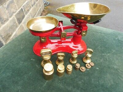 £29 • Buy Vintage Red Cast Iron VICTOR Scales With Selection Of Brass Weights