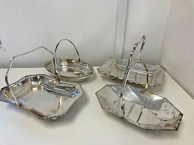 £5.95 • Buy Ornate Vintage Silver Plated EPNS A1 Serving Dishes Trays Handles X4 10-11  E41