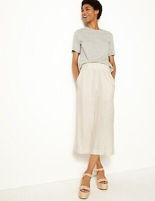 £12.49 • Buy NEW M&S Striped Wide Cropped Linen Blend Trousers Size 14