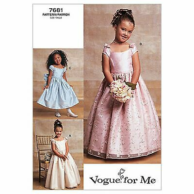 £14.99 • Buy Vogue Sewing Pattern 7681 Girls Bridesmaid Dress 2-5 Special Occasion Bow Back