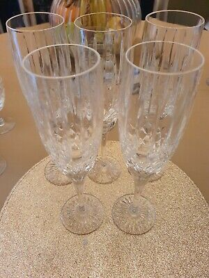 £9.60 • Buy 5 X Royal Doulton Crystal ' Canterbury '  Champagne / Prosecco Flutes / Glasses
