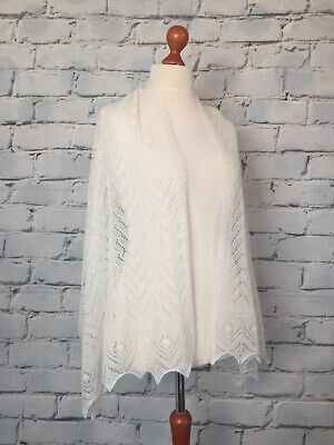 £60 • Buy Stunning  100% Pure Cashmere Lace Shawl / Scarf / Wrap, Col: Soft White
