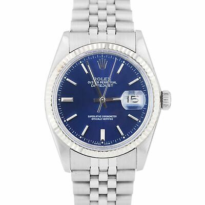 $ CDN6082.87 • Buy Rolex DateJust 36mm Stainless Steel Blue Index Dial Jubilee Fluted Watch 16014