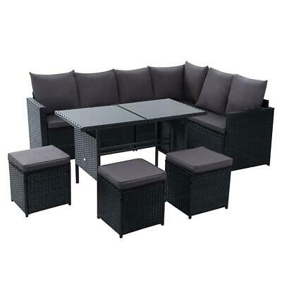 AU772.20 • Buy Gardeon Outdoor Furniture Dining Setting Sofa Set Wicker 9 Seater Storage Cover