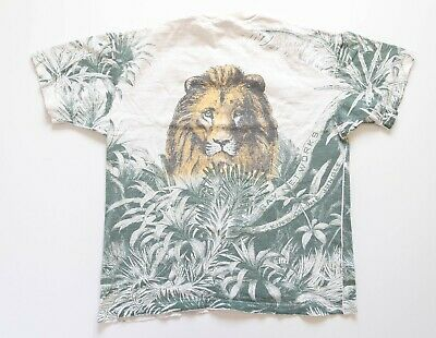 £13.37 • Buy Vintage Shirt Lion All Over Print Size XL 90's Single Stitched Distressed AOP