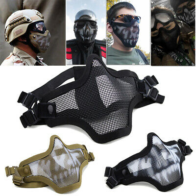 $8.99 • Buy Halloween Mesh Protective Mask Half Face Tactical Airsoft Military Masks Unisex
