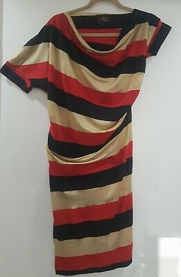£60 • Buy Vivienne Westwood Anglomania Asymmetric Dress Stripes Black Red Gold Size Small