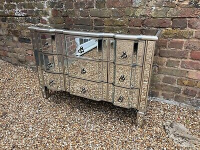 £51 • Buy Mirrored Chest Of 9 Drawers Venetian Bedroom Furniture Glass Storage - DAMAGED