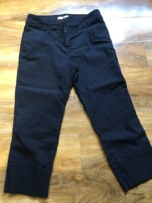 £1.95 • Buy Ladies Stylish Black Cropped Stretch Trousers Size 14 George