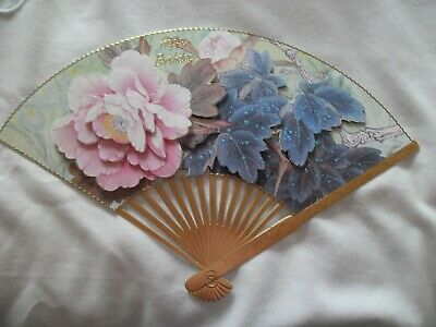 £1.20 • Buy Large Handmade Fan Birthday Card With Topper Of Decoupaged Flowers