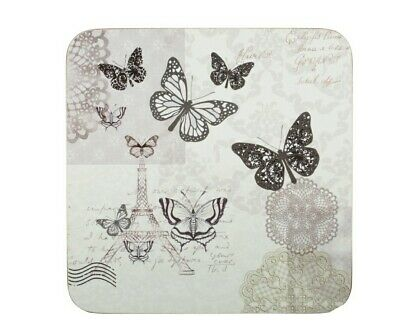 £7.99 • Buy Set Of 6 Coasters Butterfly Lace Paris Wildlife New