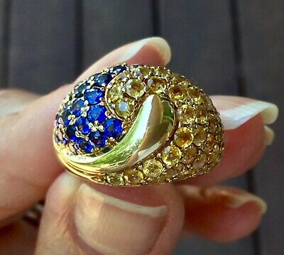 £407.09 • Buy Heavy Sapphire Dome Cocktail Ring 14k Yellow Gold 10.2 Grams