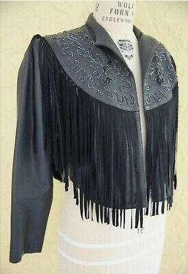 £35 • Buy Vintage Rock Festival Fringed Leather Jacket Size 12 Rock Stage Chic Preowned