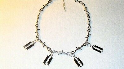 £8.15 • Buy Razor Blade Charm Choker Necklace Jewelry Barb Barbed Wire Chain Goth Punk Rock