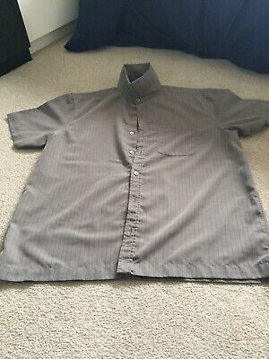 £5 • Buy Atlantic Bay Mens Soft Touch Shirt Taupe With Stripe Size L