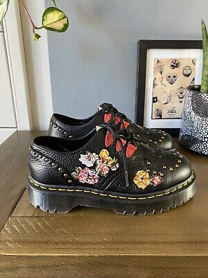 £90 • Buy Dr Martens Serova Chunky Black Leather Shoes Size 4 37 Skull Floral Creeper Rare