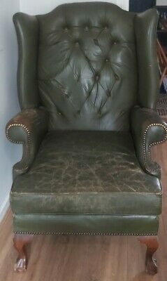 £33 • Buy Chesterfield Wing Back Chair Green Leather