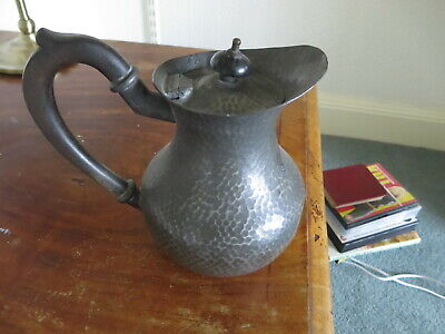 £15 • Buy Antique Pewter Jug With Hinged Lid - English, Hand Beaten