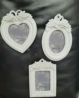 £4.99 • Buy SMALL White Heart Love Oval Photo Frame French Ornate Baroque Rococo Wedding