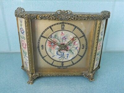 £19.95 • Buy Early Vintage Petit Point Embroidered / Tapestry Brass Filigree Clock