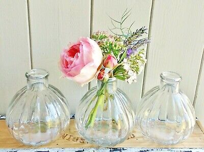 £11.99 • Buy Set Of 3 Vintage Shabby Chic Clear Ribbed Bud Vases