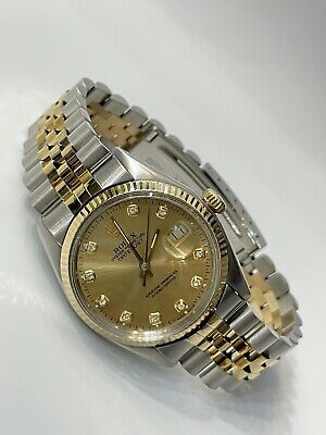 $6200 • Buy Rolex Datejust Two Tone 36mm Yellow Gold & Stainless Steel Diamond Dial Jubilee