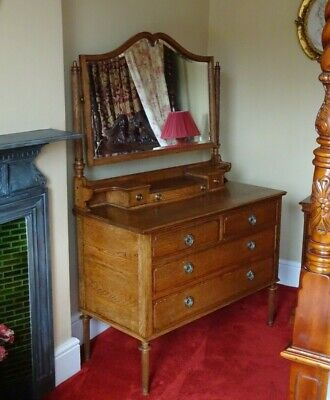 £90 • Buy Antique Victorian/Edwardian Oak Dressing Table With Tilting Mirror Brass Handles