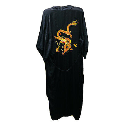 $71.99 • Buy Vintage 1990s Embroidered Dragons Koi Fish Chinese Black Silk Robe Silky Soft XL