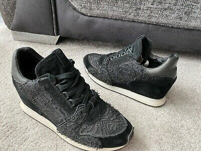 £19.99 • Buy ASH Dean Black Leather Suede Wedges Trainers , Eur Size 40