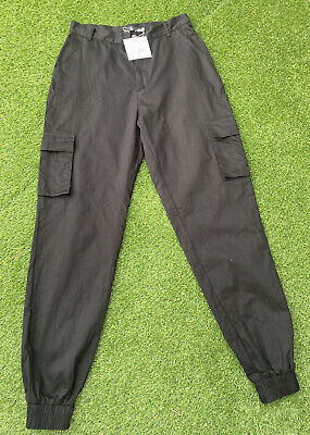 £14.99 • Buy Missguided Black Cuffed Cargo Combat Trousers Size 12 BNWT Casual Going Out