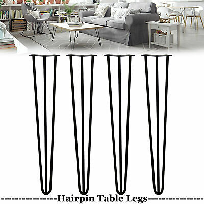 £17.80 • Buy 4x Hairpin Legs/Hair Pin Legs Set For Furniture Bench Desk Table In Steel- Cheap