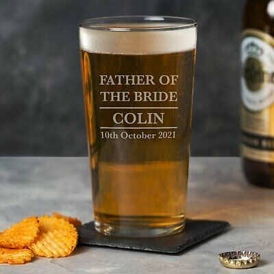 £6.99 • Buy Personalised Father Of The Bride Pint Glass Wedding Favours Thank You Gift