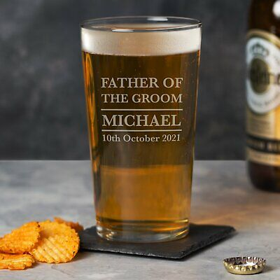 £6.99 • Buy Personalised Father Of The Groom Pint Glass Wedding Favours Thank You Gift