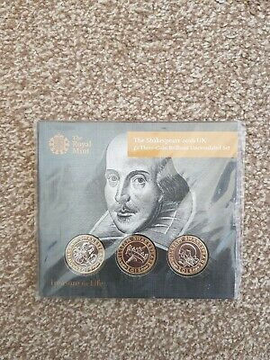 £44 • Buy Bu 2016 William Shakespeare Bunc £2 Pound Coin Three Coin Set Rm Pack Sealed