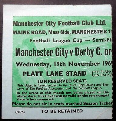 £5.55 • Buy Manchester City V Manchester United   League Cup Semi Final 19-11-1969 Ticket