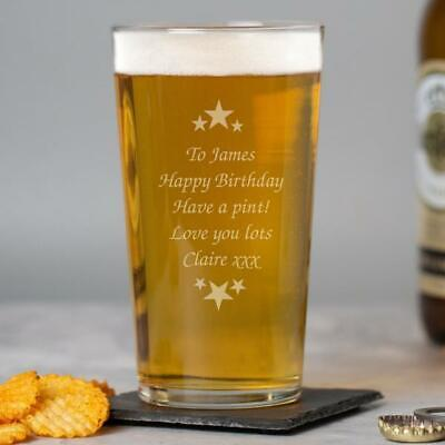 £6.99 • Buy Personalised Stars & Message Pint Glass Birthday Fathers Day Christmas