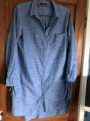 £9 • Buy M&S Womens Chambray Cover-Up Shirt, Blue, Size 14, Never Worn
