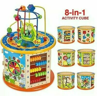 £8.75 • Buy Wooden Activity Cube 8 In 1 Baby Bead Maze Toys Gift Educational Early Learning