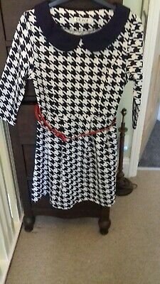£1 • Buy Ladies Navy Checked Dress Size 8/10