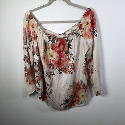 AU24.95 • Buy Witchery Womens Beige Floral Off Shoulder Long Sleeve Top Size 14 Good Condition