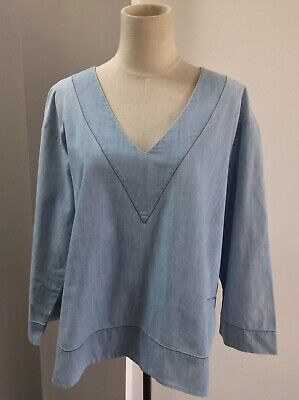 AU35 • Buy SCANLAN THEODORE Denim Cotton Chambray Style Blue Blouse Tunic Top Size S/M