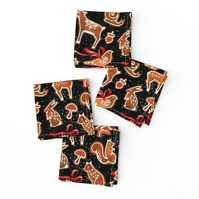 £23.62 • Buy Cocktail Napkins Gingerbread Christmas Holiday Cookies Animals Woodland Set Of 4