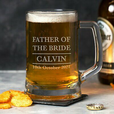 £7.99 • Buy Personalised Father Of The Bride Glass Pint Stern Tankard Thank You Presents