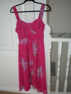 £3.99 • Buy BHS Pink Floral Strappy Dress Size 14