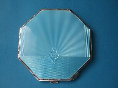 £105 • Buy LARGE STERLING SILVER BLUE GUILLOCHE  ENAMEL POWDER COMPACT 1949     174 Grams