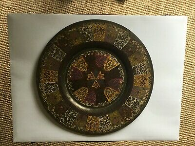 £5 • Buy Vintage Oriental / Indian, Decorative Brass Tray / Plate.