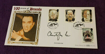 £125 • Buy First Day Cover Tales Of Horror Signed By Christopher Lee 100 Years Of Dracula