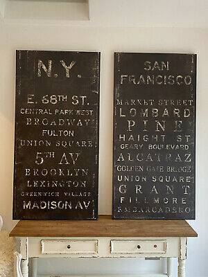 £200 • Buy Wall Art: A Pair Of XL Vintage Style City Street Signs On Canvas.