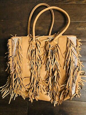 £15 • Buy Large Faux Leather Fringed Tan Bag
