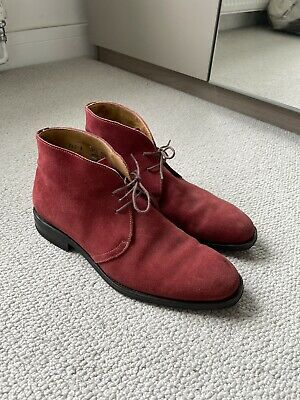 £31 • Buy Russell And Bromley Mens Laced Chelsea Boots Size 8 / 42 Red Burgundy Suede